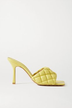 Quilted Leather Mules - Yellow