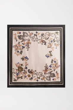 Printed Embroidered Woven Scarf - Ivory