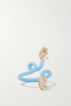 Vine Tendril 9-karat Gold, Enamel And Rock Crystal Ring - Blue