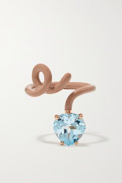 Heart Tendril 9-karat Rose Gold, Enamel And Topaz Ring
