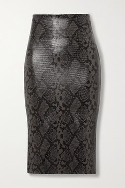 Stretch Faux Snake-effect Leather Skirt - Snake print
