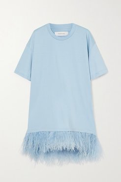 Feather-trimmed Cotton-jersey Mini Dress - Blue
