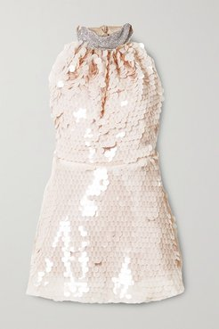 Crystal And Paillette-embellished Tulle Mini Dress - Neutral