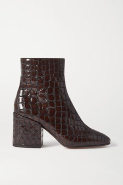 Croc-effect Glossed-leather Ankle Boots - Dark brown