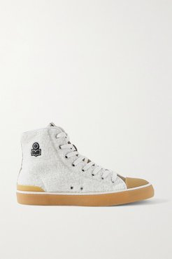 Benkeen Suede, Canvas And Rubber-trimmed Faux Shearling Sneakers - Off-white