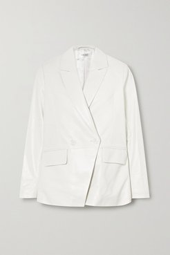 Grace Double-breasted Leather Blazer - White