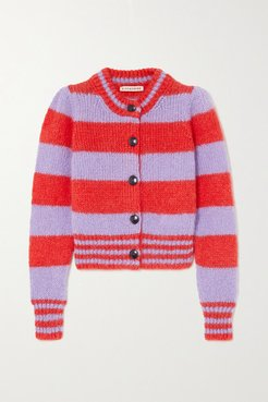 Striped Mohair-blend Cardigan - Red