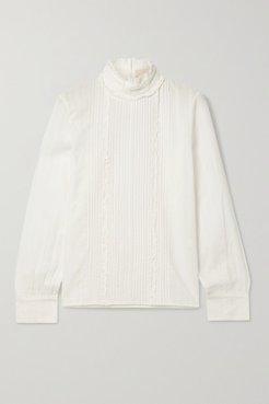 Pretty Pintucked Embroidered Cotton-voile Blouse - White