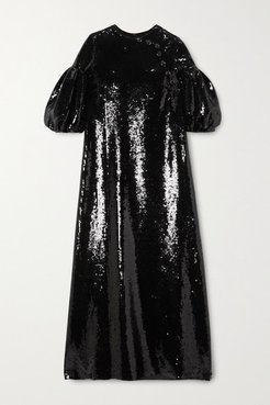 Celine Sequined Georgette Maxi Dress - Black