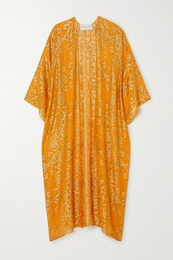 Babani Metallic Fil Coupé Silk-blend Georgette Robe - Gold