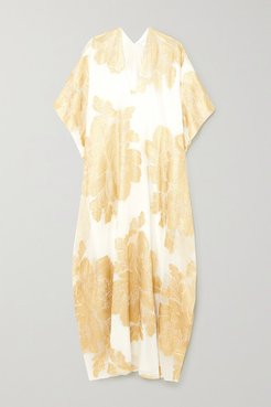 Metallic Fil Coupé Silk-blend Georgette Kaftan - Gold