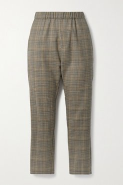 Delancy Cropped Checked Wool Pants - Brown