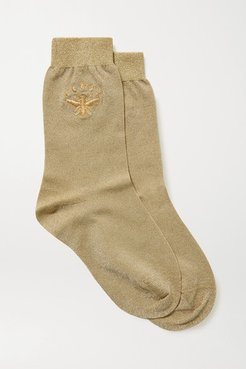 Embroidered Metallic Stretch-knit Socks - Gold