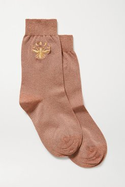 Embroidered Metallic Stretch-knit Socks - Copper