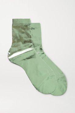 Metallic Coated Silk-blend Socks - Green