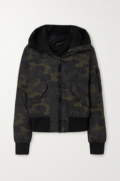 Forest Hooded Camouflage-print Down Ski Jacket - Army green