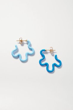 Gold And Enamel Earrings - Blue