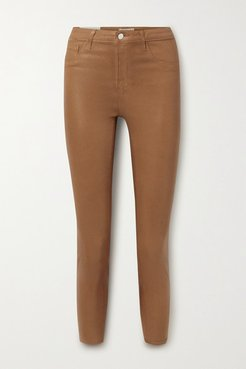 Margot Coated High-rise Skinny Jeans - Camel