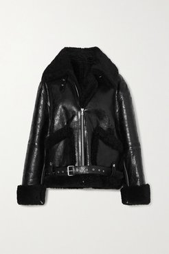 Oversized Shearling And Glossed Textured-leather Jacket - Black