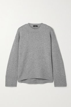 Karenia Whipstitched Mélange Cashmere Sweater - Gray