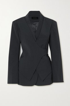 Layered Woven Wrap Blazer - Charcoal