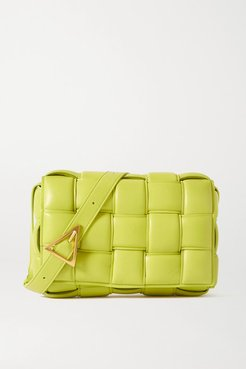 Cassette Padded Intrecciato Leather Shoulder Bag - Green