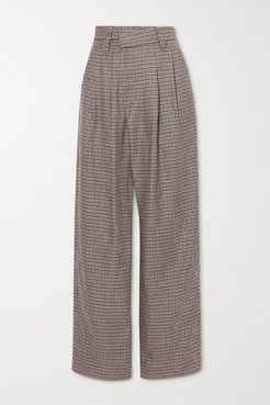 Pleated Houndstooth Linen, Wool And Silk-blend Wide-leg Pants - Brown