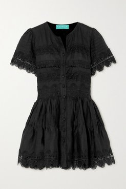 Violetta Guipure Lace-trimmed Linen Mini Dress - Black