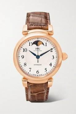 Da Vinci Automatic Moon Phase 36mm 18-karat Red Gold And Alligator Watch - Rose gold