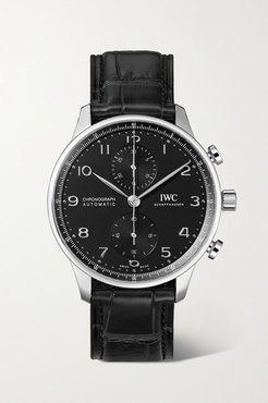 Portugieser Automatic Chronograph 41mm Stainless Steel And Alligator Watch - Silver