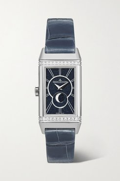Reverso One Duetto Moon 20mm Stainless Steel, Alligator And Diamond Watch - Silver