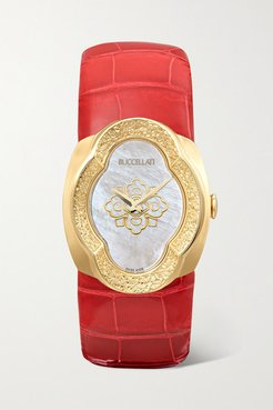 Opera 28mm 18-karat Gold, Alligator And Mother-of-pearl Watch - Red