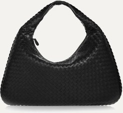 Veneta Large Intrecciato Leather Shoulder Bag - Black