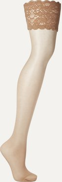 Satin Touch 20 Denier Stay-up Stockings - Sand