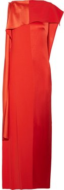 Draped Satin And Grosgrain Gown - Tomato red