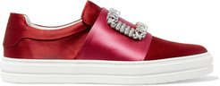 Sneaky Viv Crystal-embellished Two-tone Satin Slip-on Sneakers - Red
