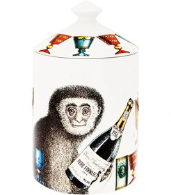 champagne monkey scented wax candle - White