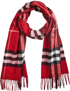 The Classic Check Cashmere Scarf - Red