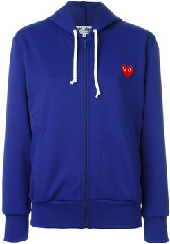 embroidered heart hoodie - Blue