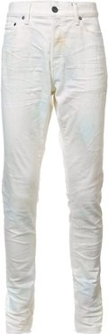 creased slim-fit jeans - White