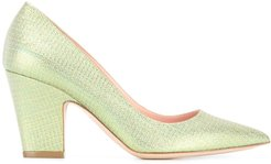 glitter pointed toe pumps - Green