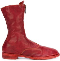 front zip calf-length boots - Red