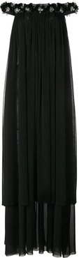 bead embellished off-shoulder gown - Black