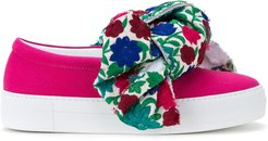 floral bow slip-on sneakers - PINK