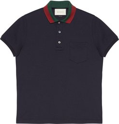 Cotton polo with Web collar - Blue