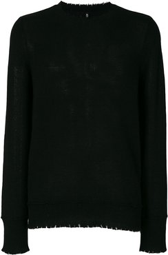 distressed-hem jumper - Black
