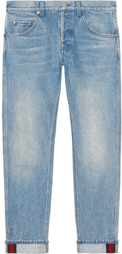Tapered denim pant with Web - Blue