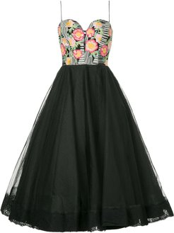 floral detail tulle dress - Black