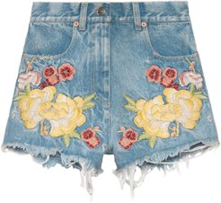Embroidered denim shorts - Blue