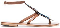 Blue Ariana 15 feather and leather sandals